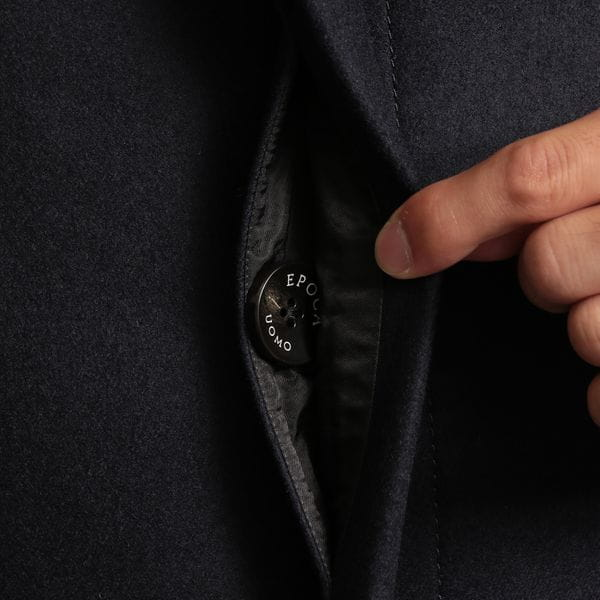 二重織バルカラーウールコート