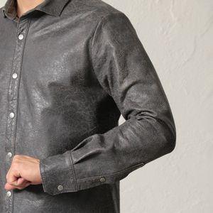 【PRIMA COLLECTION】クラックレザーシャツブルゾン