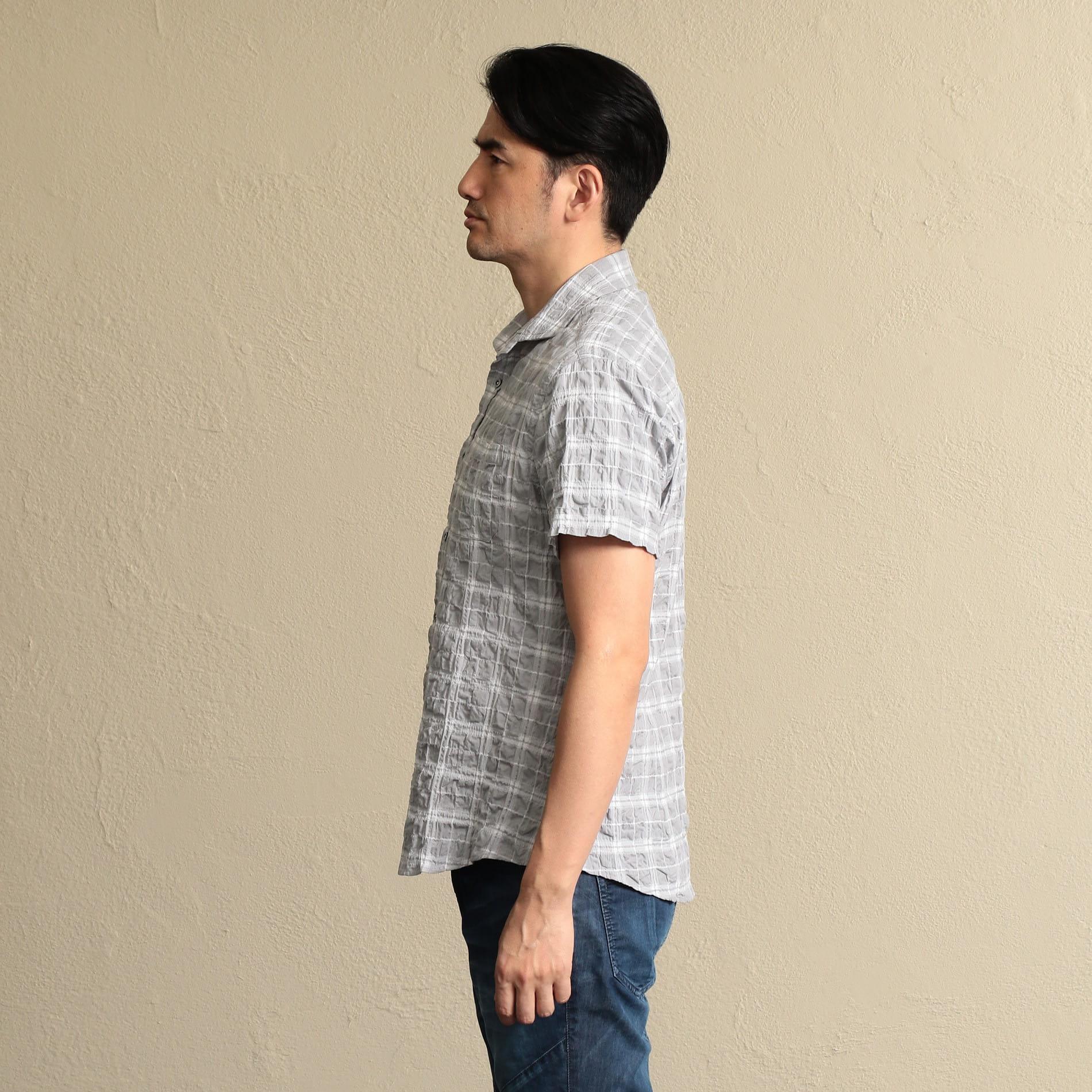 ホリゾンタルカラー チェックシャツ