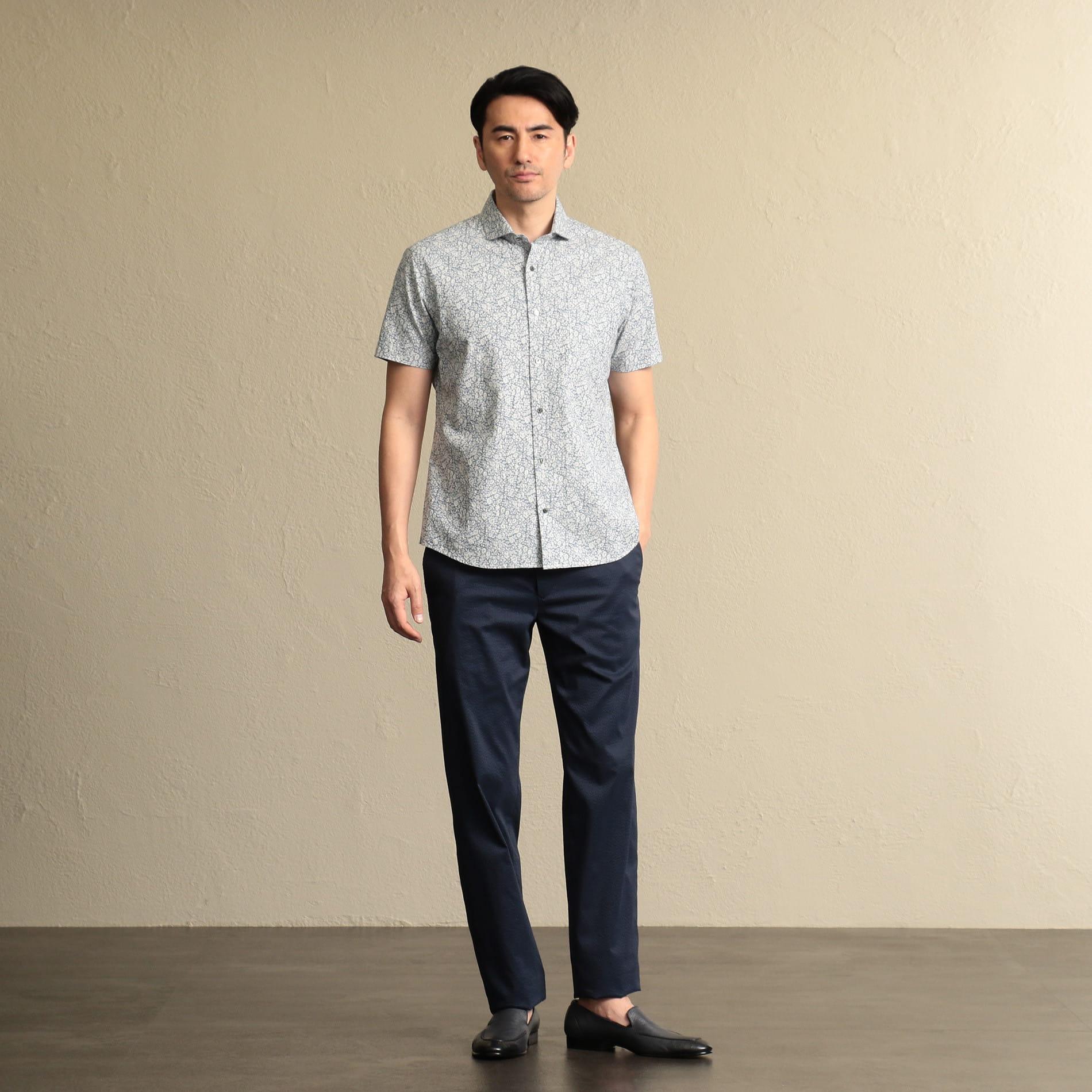 ◆◆ホリゾンタルカラー 抜染プリントシャツ