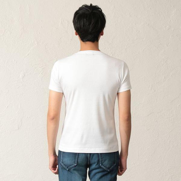 フロッキーライングラデVネックTシャツ