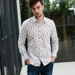 フラワープリントコットンシャツ