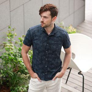 ホリゾンタルカラーフラワージャージーシャツ
