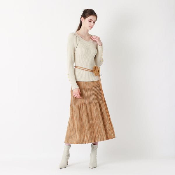 【La maglia】かすり調ニットフレアスカート