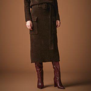 ベルト付きニットタイトスカート