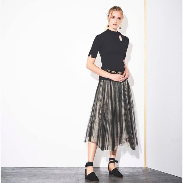 【Marisol4月号掲載】【La maglia】プリーツニットコンビスカート