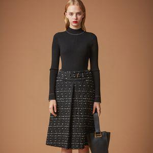 リブニットジャガードドレス