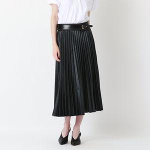 シンセティックレザー プリーツスカート