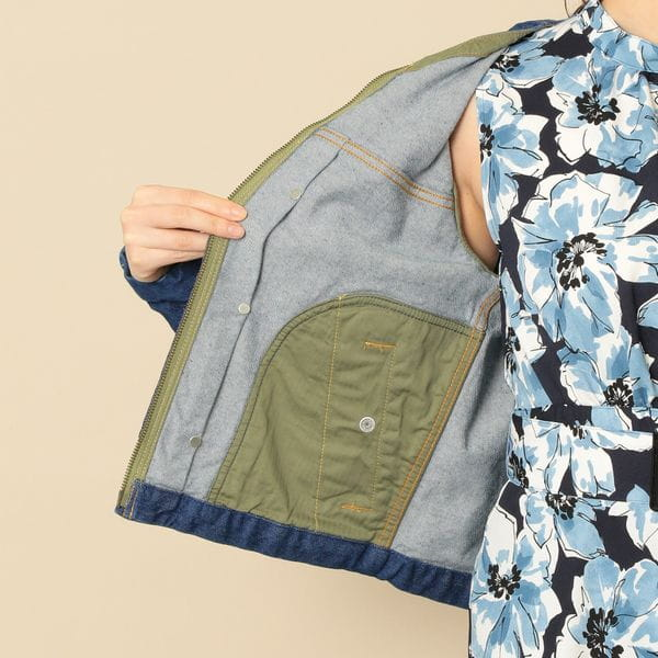 【lelill】ノーカラーデニムジャケット