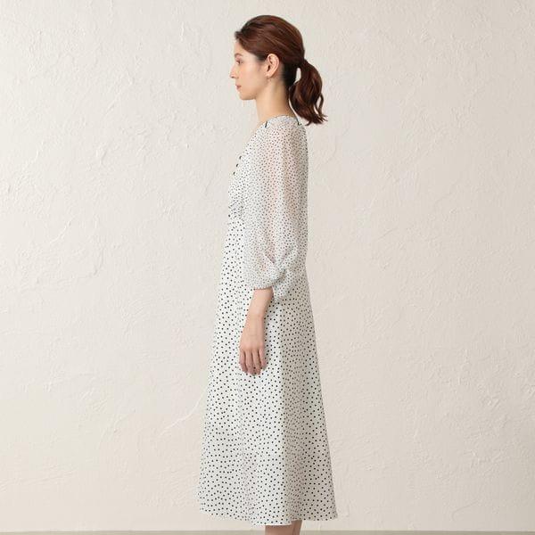 【FLICKA】フロントボタンドットドレス