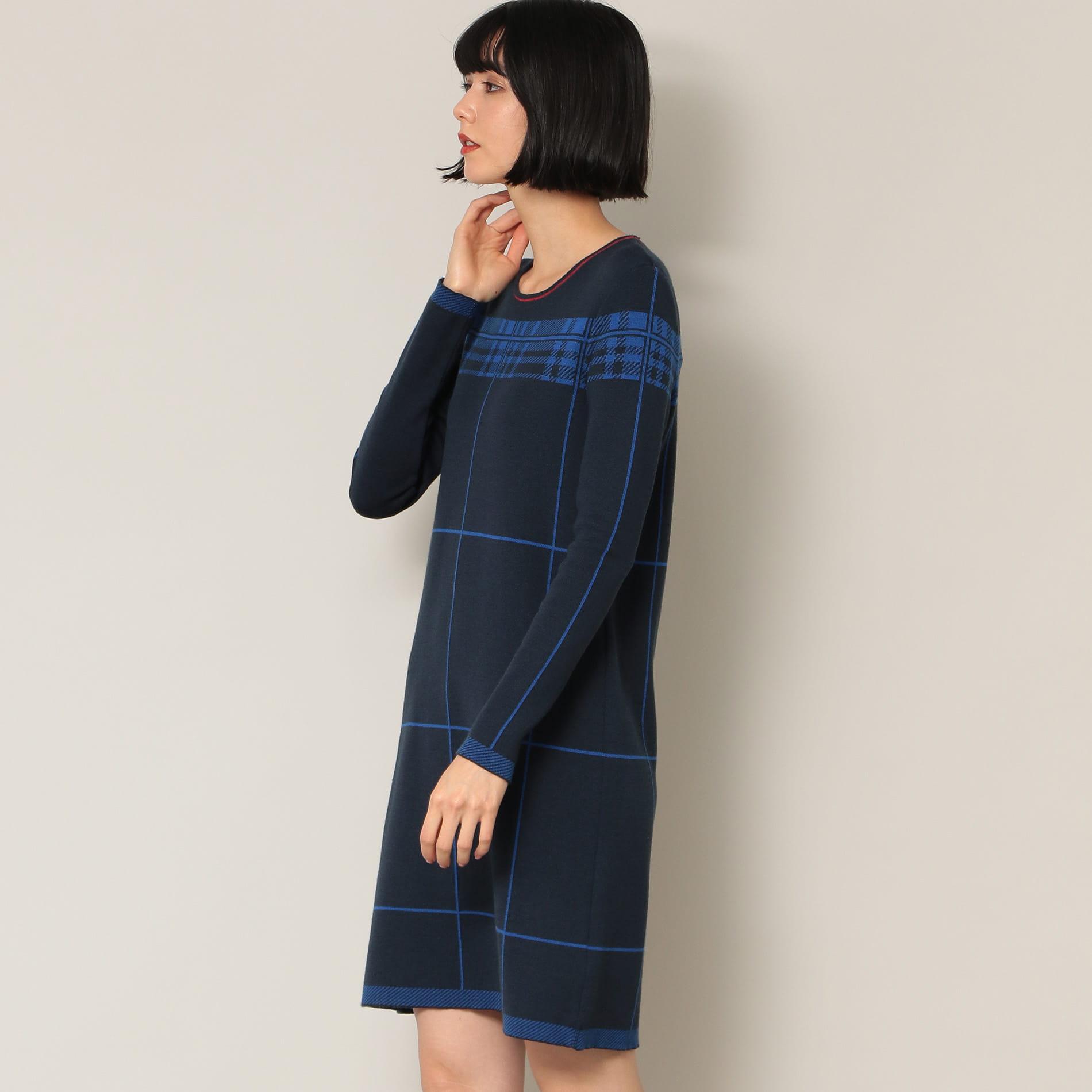 【DEVERNOIS】ネイビーニットドレス