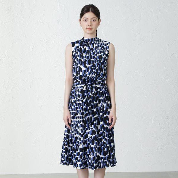 【leota】レオパードプリントノースリーブドレス