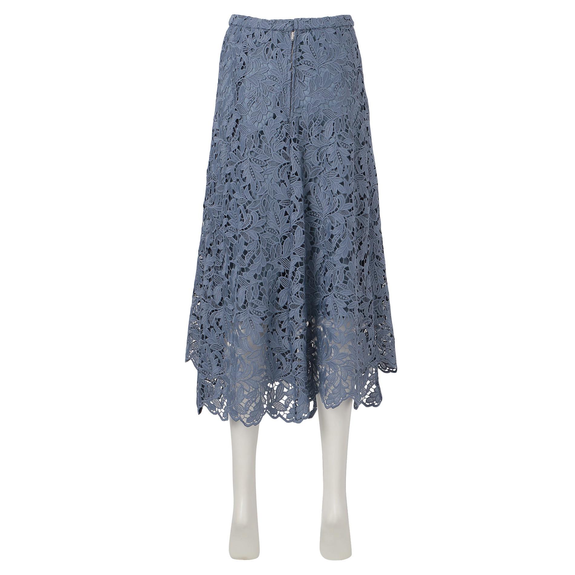 【FLICKA】カラーレースフレアスカート