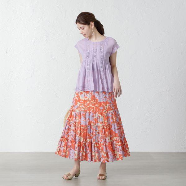 【ne quittez pas】ボタニカルプリントティアードスカート