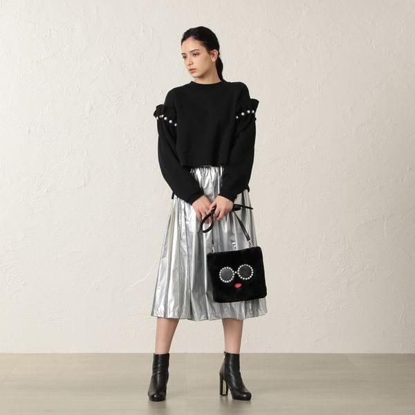【MIHOKO SAITO】メタリックギャザースカート