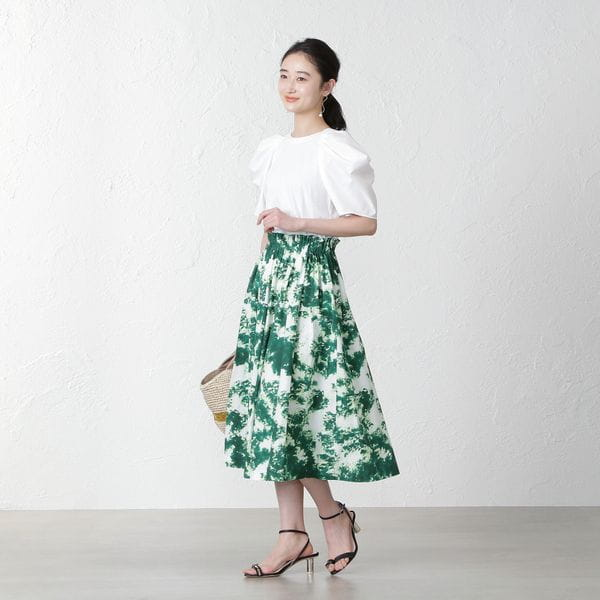 【MIHOKO SAITO】グリーンプリントスカート