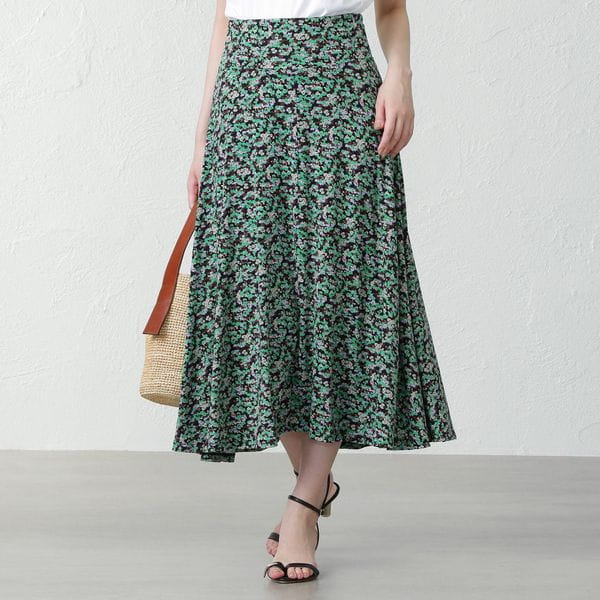【three dots】フラワープリントロングスカート