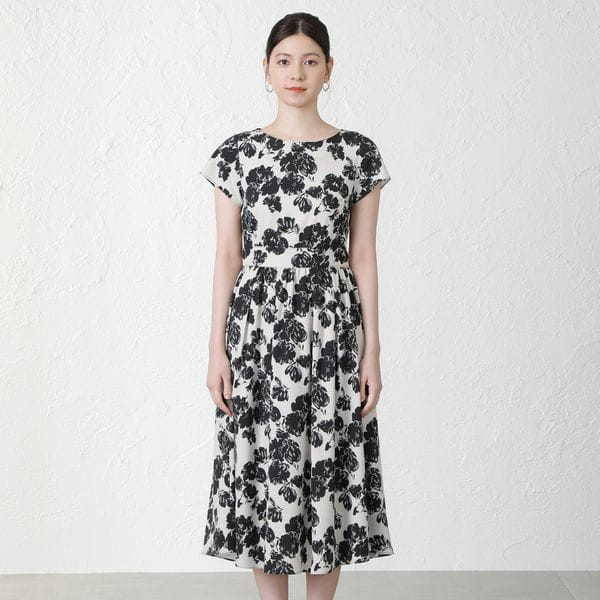 ツートンカラーフラワープリントドレス