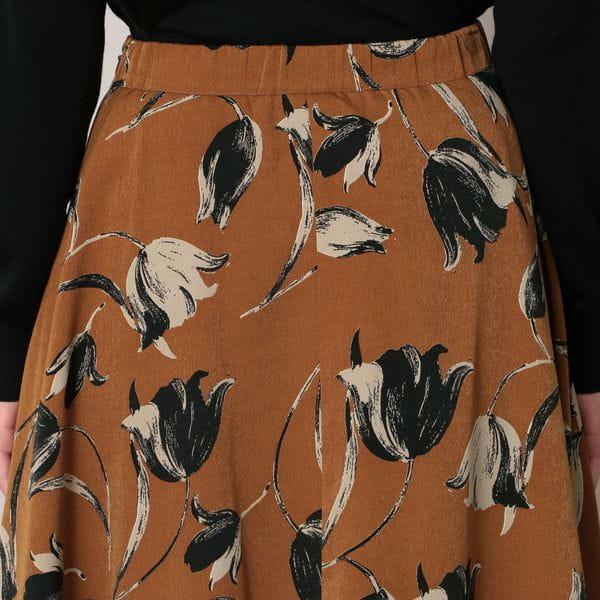 チュールコンビチューリップフラワープリントスカート