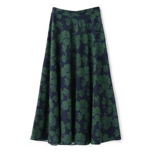 ツートンカラーフラワープリントフレアスカート