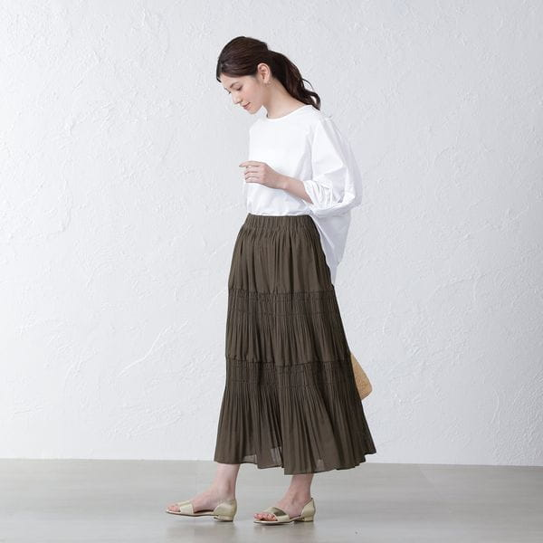 シャーリングプリーツスカート