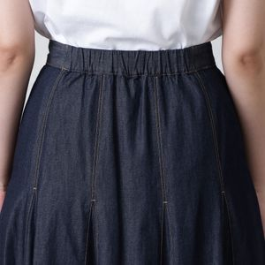 プリーツコンビデニムスカート