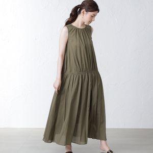 【SACRA】ノースリーブギャザードレス