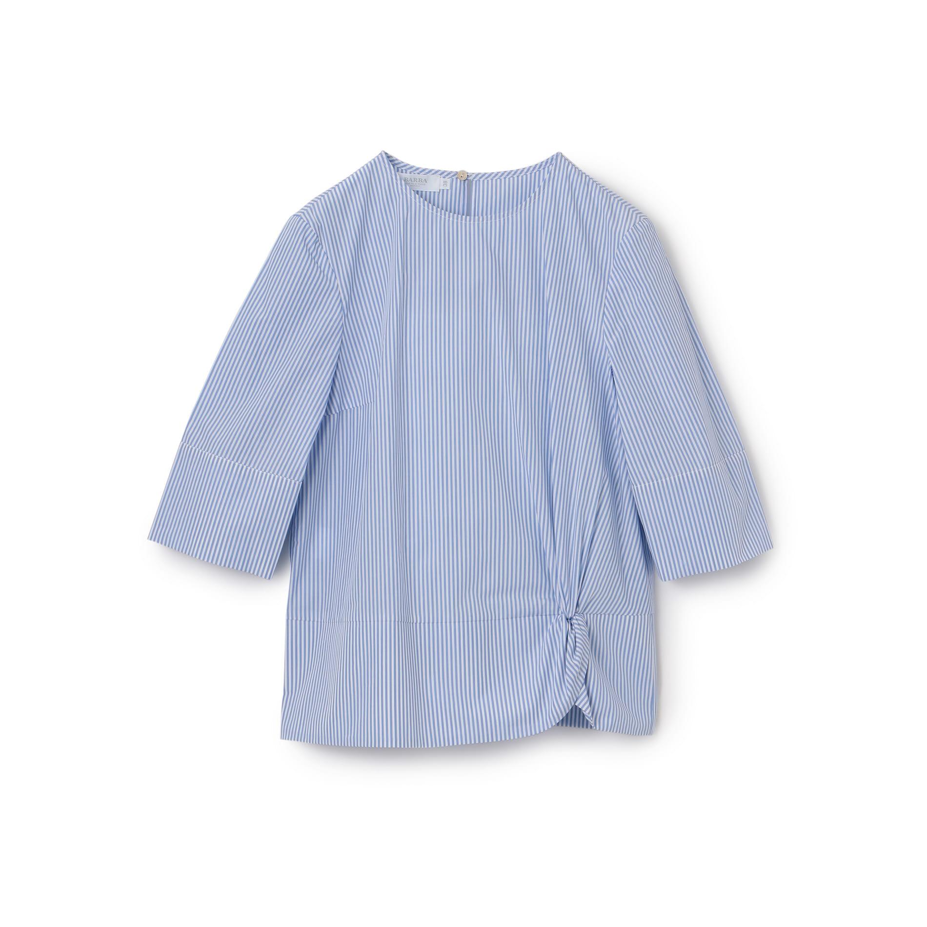 【BARBA】五分袖クルーネックコットンストライプシャツ