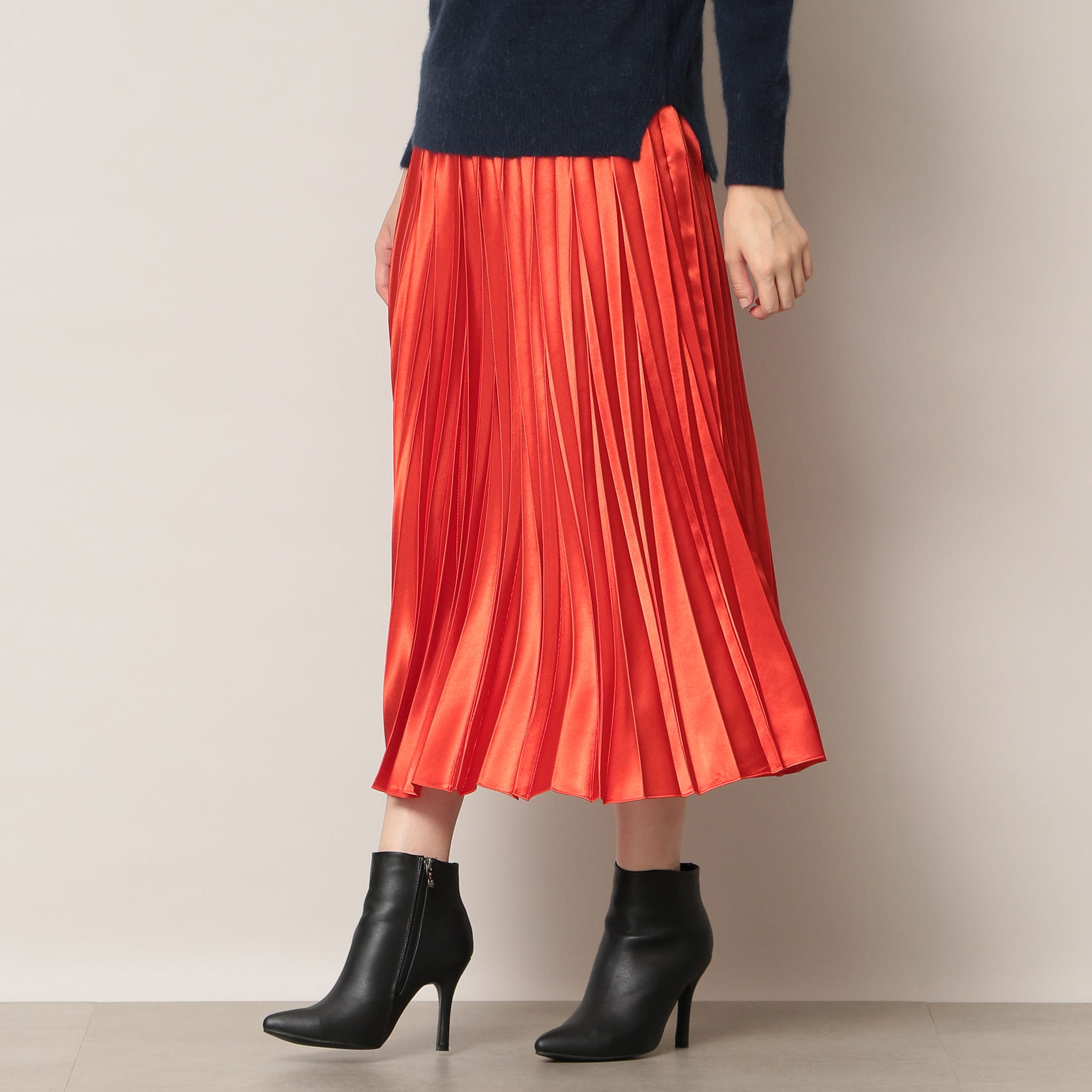 【EPOCA THE SHOP】カラーサテンプリーツスカート